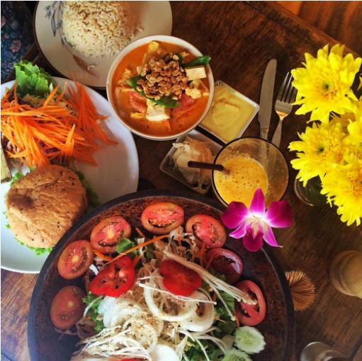 Table of Vegan Food in Bangkok