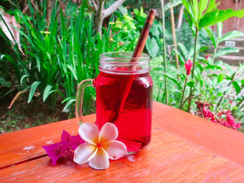 cold brew hibiscus tea with bamboo straw