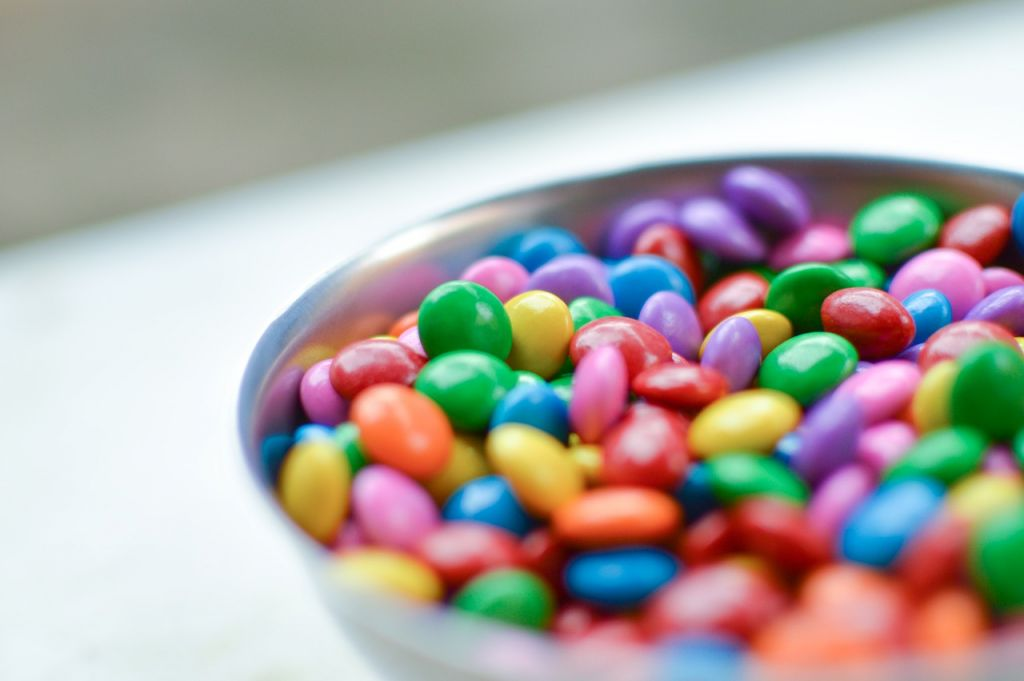 Colored M&Ms in bowl