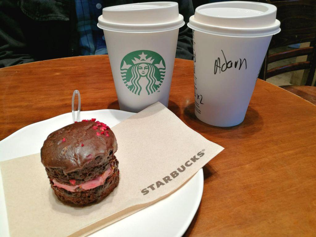 Vegan cake and coffee at Starbucks