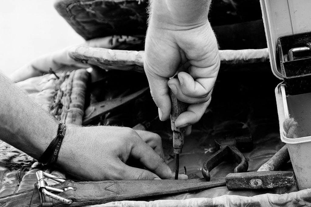 Man working in PU leather